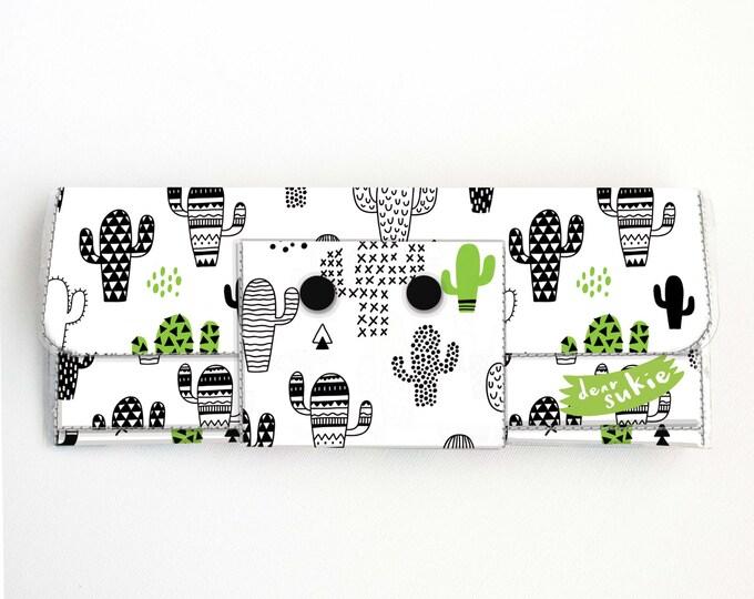 Vinyl Long Wallet - Cactus / cacti, vegan, pretty, large wallet, clutch, card case, vinyl wallet, handmade, plants, green, succulents