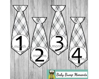 Monthly Tie Stickers, Photo Month Stickers, Babyshower Gift, Set of 12 MonthsBaby Shower Gift