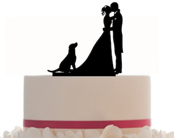 Custom Wedding CAKE TOPPER Personalized Silhouette With choice of dog, color