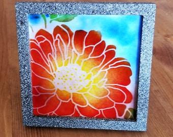 Framed Multi Color Fused Glass Flower Tile in Painted Frame