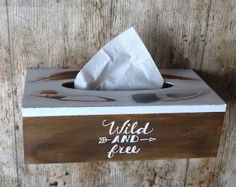 Wooden Tissue Box Cover, Kleenex Box Cover Boho Gift For Her Napkin Box Tissue Cover, Feather Wild and Free Bathroom Organization Boho Decor