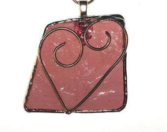 Stained Glass Wire Heart Pendent Necklace - Mauve