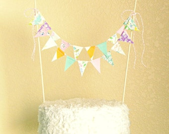 Cake Bunting Banner, Birthday Bunting Cake Topper, Cake Bunting Baby Shower, Girl Cake Smash Props, Pink and Mint First Birthday Cake Flags