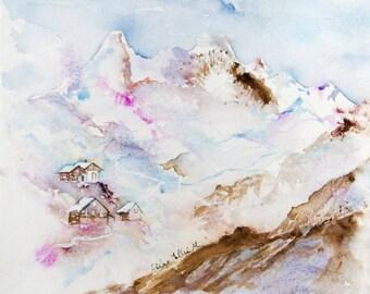 Mountain watercolor, winter original watercolour, original mountain painting,winter painting, mountain wall decor