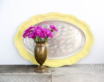 Yellow Silver Tray - Patina - Unique Upcycled - Modern Vintage Tray