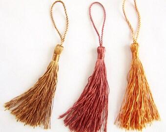 3 PomPoms textile 8cm - Bronze, ochre, orange