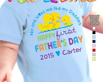 Happy First Father's Day - No One Loves me Like my Daddies - Bodysuit - Boys Personalized w/Name & Year (Gay / Lesbian / 2 Daddies)