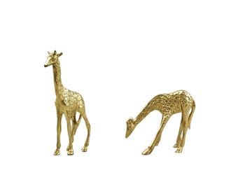 Vintage Brass Giraffe Figurine, Mid Century, Brass Figurine, Giraffe Figurine, Brass Giraffe, Giraffe, Brass, Brass Decor, Nursery Decor