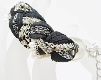 Gorgeous silver tone and black fabric bracelet