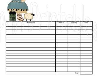 Americana Prim Annie Customizible or Plain Invoice  DIY Digital Instant Download