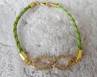 Green sign bracelet infinity with Rhinestones