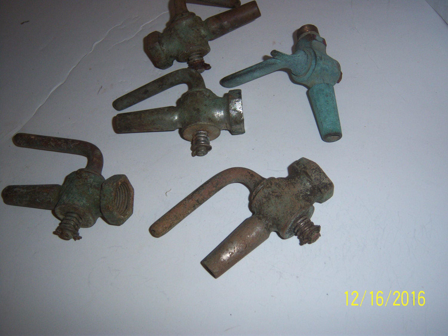 Lot of 5 Antique Decorative Brass Metal Beer Keg Taps Water