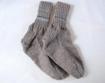 Hand Knitted Brown Striped Washable Wool Socks