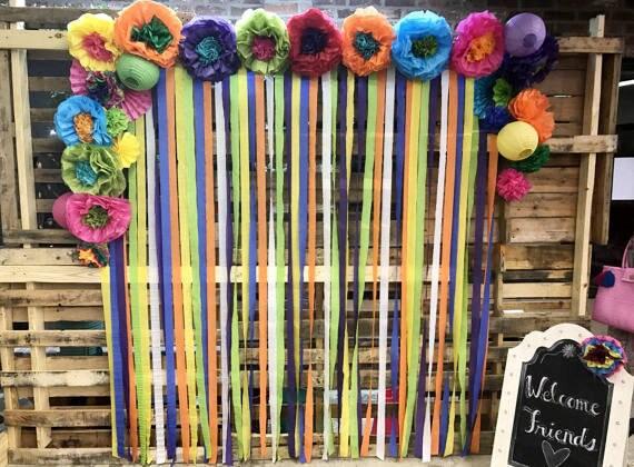 Mexican tissue paper flowers photo wall wedding fiesta zoom mightylinksfo