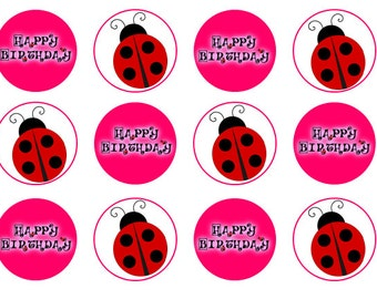 Ladybird Cupcake Toppers, Ladybird Party, Wafer Paper, Icing Paper, Cake Topper, Ladybird Birthday