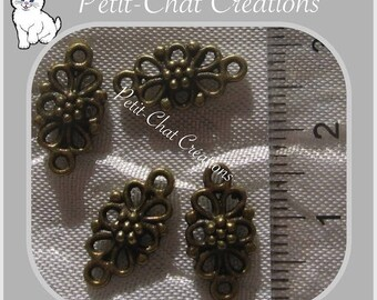 10 connectors prints flower with rings METAL BRONZE 16x8mm DOUBLE-sided * J54