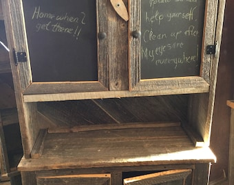 Vintage Barn Wood Kitchen Hutch And Cabinet With Calk Board And Sheet Metal