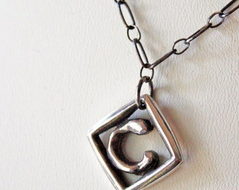 Letter C Sterling Silver Monogram Pendant  Chunky Initial Unisex Silver Necklace  Modern Silver Initial Charm