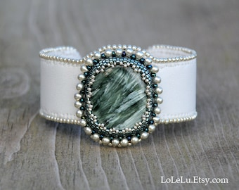 Bead Embroidered Cuff Bracelet with Green Seraphinite Cabochon.... Forest green, Silver and White