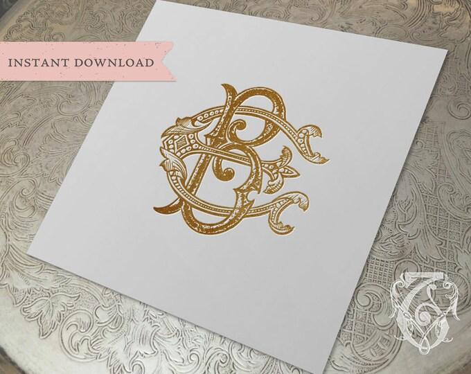 Vintage Wedding Monogram EB BE Digital Download B E