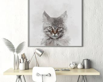 Grey Cat Watercolor Poster