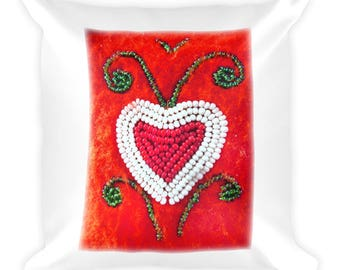 Native American Heart Beadwork Art Square Pillow