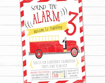 Firetruck Birthday Invitation, Fire Truck Invitation, Fire Truck Birthday, Firefighter Birthday Invitation, Printable Invitation, Fire Party