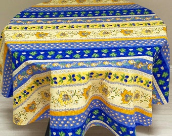 Blue and Yellow Tablecloth, French Provence Tablecloth and Napkins