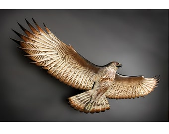 Hawk Woodcarving flying sculpture by Jason Tennant