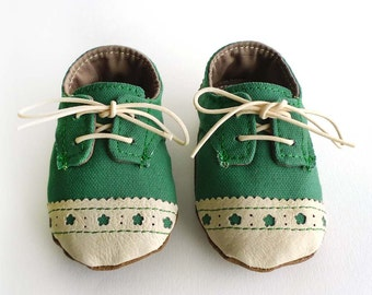 Baby Shoes Boy or Girl Green Canvas with Brogued Leather Soft Sole Shoes Oxford Wingtips Wing tips