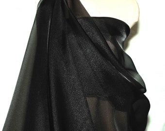 Crystal Organza / Organdy 100% polyester sheer fabric, 115/116 inches wide./BLACK /  by the yard  formal wear, skirts, holiday,