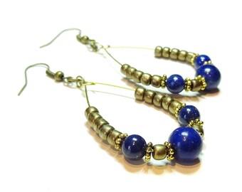 Antique Brass Hoop Earrings with Gemstone Blue Lapis Lazuli
