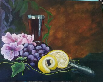 Still life acrylic painting framed 16x20 on canvas wine flowers
