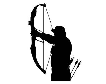 Bow Hunting Vinyl Sticker , Bow Deer Hunter Decal , Compound Bow