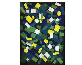 Colorful Abstract Acrylic Painting Geometric Square Shapes Ombre Art Mid Century Modern Yellow Accents Confetti Yayoi Kusama