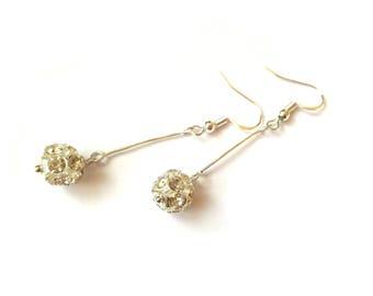 Bridesmaid crystal drop earrings Minimalist crystal earrings Crystal ball earrings Dangle crystal earrings for bridesmaids Under 20 dollars