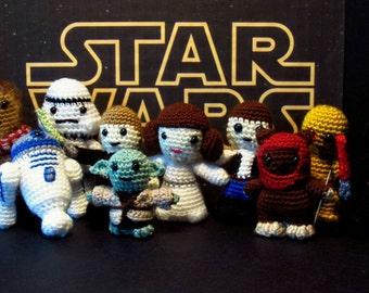 Star Wars Crochet Amigurumi, BB-8, C-3PO, R2-D2, Yoda, Luke, Chewbacca, Princess Leia, Han Solo, Ewok, Darth Vader, Stormtrooper Characters