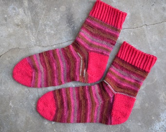 Magenta striped wool socks, hand knit socks for women, winter bed socks, ankle socks, house slippers for girlfriend