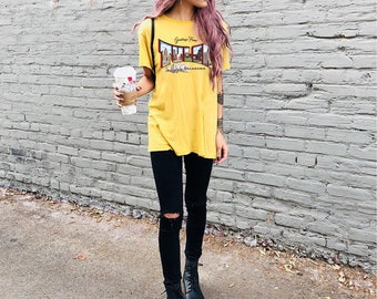 Greetings From Tulsa Vintage Postcard Graphic T-Shirt - Vintage Inspired Tulsa Alabama Gold Graphic Tee