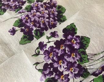 Pure Linen Vintage Tablecloth~VIOLETS~Purple Violet Bouquets on White~Looks Unused~Pristine