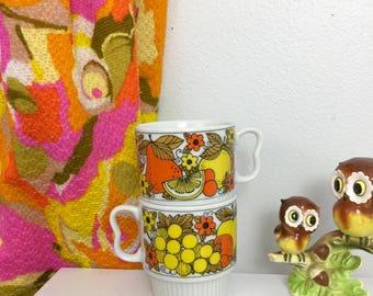 Vintage 1970s Fruits Ceramic Mugs