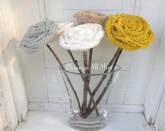 6 Wooden Stemmed Burlap Flowers, Burlap Flower Bouquet, Floral Centerpiece, Wedding Bridal Shower Decor, Gift