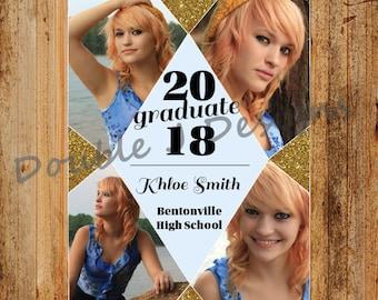 Graduation Announcement Diamond & Glitter - 5x7 or 4x6