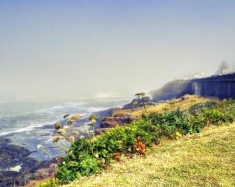 Misty beach photo, HDR photograph, Grey, green, tan, fine photography prints, The Basalt Shores of Depoe Bay 2