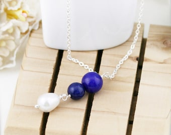 Peace and purity necklace - freshwater pearl and lapis lazuli