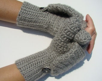 Grey Alpaca Mittens, Convertible Mittens, Fingerless Gloves, Crochet Mittens, Autumn Accessories, Fall Mittens, Fall Gloves, Long Cuff Mitts
