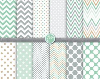 polka dot and chevron digital paper pack,Hemlock, mint green & grey digital paper Clip Art, For Scrapbooking, Cards, paper,Invitations Dp063