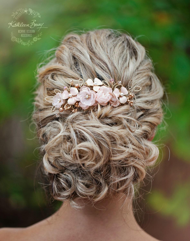 rose gold hair comb hairpiece blush pink wedding bridal hair