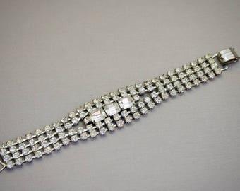 Vintage Rhinestone Bracelet Wide Rhinestone Bracelet Rhinestone Jewelry