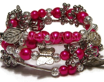 Coil Charm Bracelet, Cerise Dark Pink Glass Pearl, Silver, Filigree, Stars, Tibetan Coins & Leaf Charms, One Size Fits Most, new